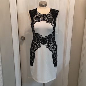 Betsy & Adam Black and White lace dress size 8